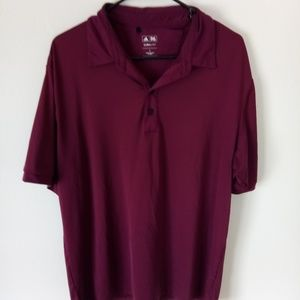 ADIDAS MENS RED CLIMALITE SIZE LARGE BUTTON POLO
